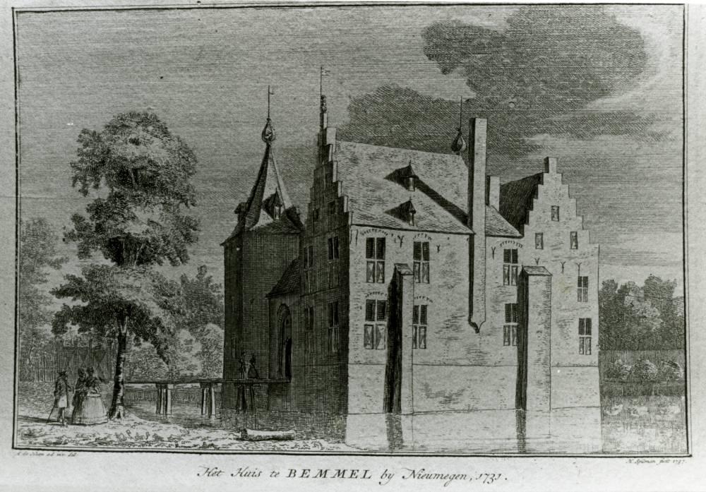 Huize Bemmel in Bemmel. Tekening Abraham de Haen 1731, gravure van Hendrik Spilman 1737